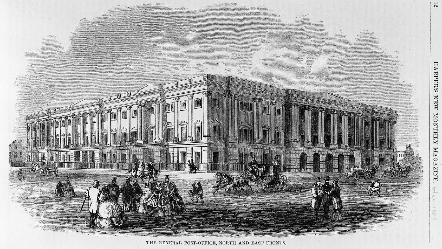 1859 engraving of Washington DC's General Post Office from Harper's New Monthly Magazine