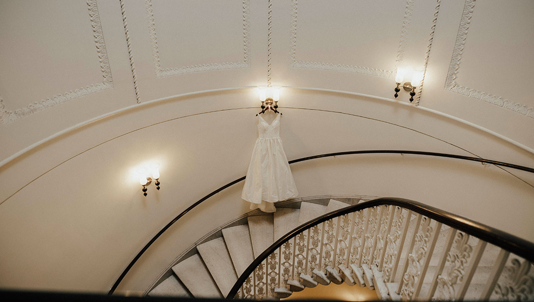 Staircase, wedding dress